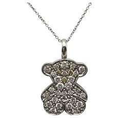 TOUS Pendant with White and Yellow Diamonds in 18k White Gold / 18k White Gold Chain / TOUS Branded Pendant