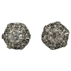 Antique Earrings of 18k Gold and Platinum with Diamonds / Stud Earrings / Earrings 1920's / Screw down clasp earrings