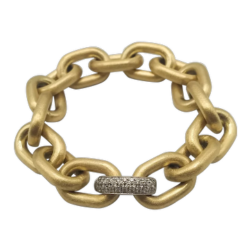 18k Gold Bracelet with 18k White Gold Clasp and Diamonds / 18k Gold Bracelet / Thick Chain Bracelet