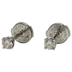 Earrings with Diamonds in 18k White Gold  / Button Earrings / Small Earrings