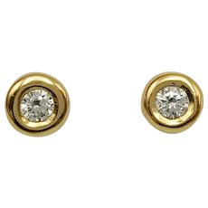 Stud Small Earrings with Brilliant Cut Diamonds in 18k Gold