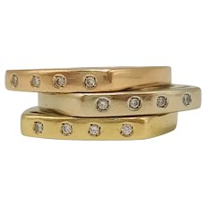 Three Rings with Diamonds in 18k Yellow Gold, 18k White Gold and 18k Rose Gold / Three Gold Rings 18k / Stackable Rings