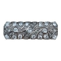 French Brooch with Antique Cut Diamonds in Platinum / Vintage Brooch / Brooch 1920's / Antique Brooch