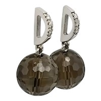 Earrings with Smoky Quartz and Diamonds in 18k White Gold / Pendant Earrings / Pressure Close Earrings / Contemporary Earrings
