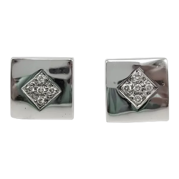 Diamond and 18k White Gold Earrings / Square Earrings / Button Earrings / Contemporary Earrings
