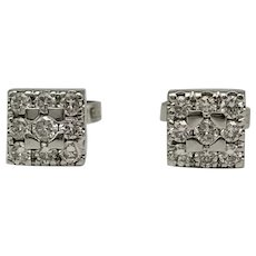Earrings with Diamonds in 18k White Gold / Button Earrings / Small Earrings / Snap Closure