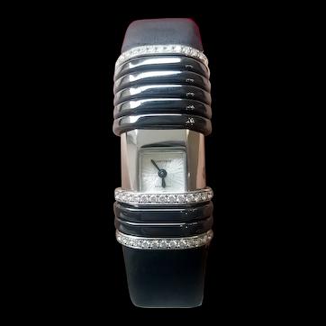 Cartier Déclaration 2611 / Women's Wristwatch, 18k White Gold, Titanium and Diamonds / Cartier Brand Watch / Women's Wristwatch