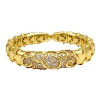Bracelet 18k Gold Brilliant Cut Diamonds / Thick Bracelet 18k Gold / Vintage Bracelet