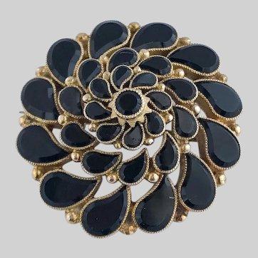 Striking 1890s Onyx and 14k Gold Paisley Starburst Pin/Pendant