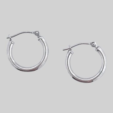Petite and Bright 14k White Gold Hoops