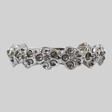 Stackable 14k White Gold Flowers and Diamond Band