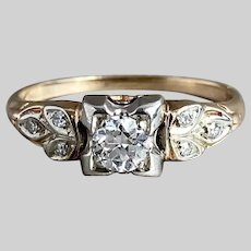 Sparkly Art Deco Diamond Engagement Ring in Two Tone 14k Gold
