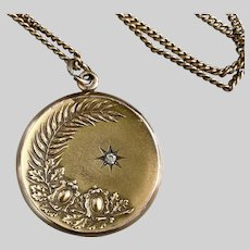Antique Gold-Filled Fern and Scroll Locket