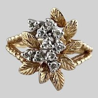 Fabulous 1960s Leafy 14k Gold and Sparkly Diamond Cluster Ring