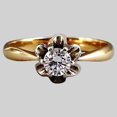 Sparkly Vintage Tulip Diamond Solitaire in 18k Two-Tone