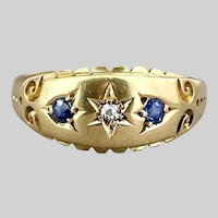 Bright 18k Victorian Diamond and Sapphire Ring, Birmingham 1905-1906