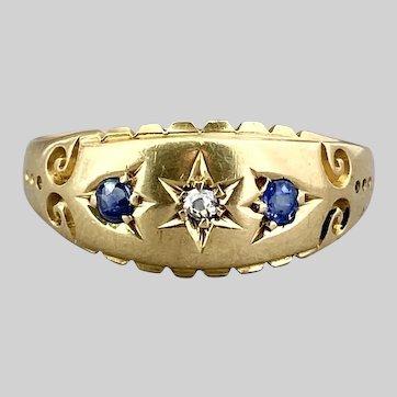Bright 18k Victorian Diamond and Sapphire Ring, Birmingham 1905-1906
