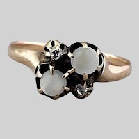 Ethereal Victorian Moonstone and Rose Cut Diamond Ring