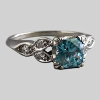 Dazzling Cushion Cut Blue Zircon in 1940s White Gold Ring