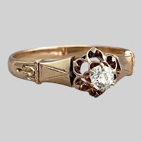 Victorian Rosy Gold Solitaire with Old Mine Cut Diamond