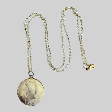 Bright Vintage Goldtone Locket on Pearl-Accented Chain