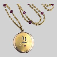 Antique Locket on a Long Ruby-Rondelle Chain