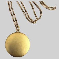 Pristine 1890s Bloomed Gold-Fill Locket with Original Picture Frames