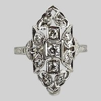 Dynamite Art Deco Diamond and 14k White Gold Ring