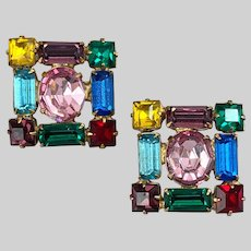 Colorful Vintage Crystal Scatter Pin Set (2 pins)