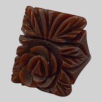 Crisp Vintage Carved Bakelite Flower Ring