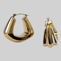 1990s 14k Gold Door Knocker Hollow Hoops