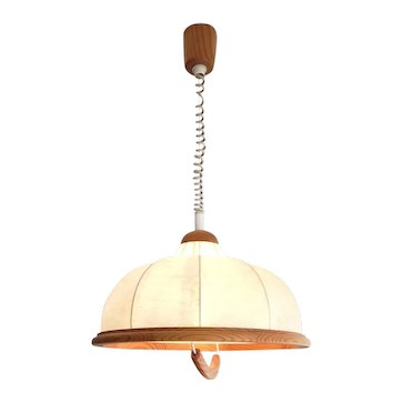 Cowhide leather pull down ceiling pendant light lamp 1970s