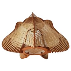 Vintage bell shaped ceiling pendant wood ceiling light wooden lamp French vintage 1960s