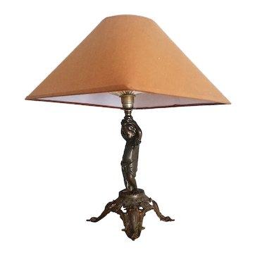 Antique table lamp Jugendstil Art Nouveau  bronze sculpture 1900s