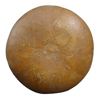 Antique calabash shepherd gourd - The picture of Napoleon is engraved - French Folk Art - 2 cracks -1830-1850