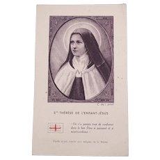 Authentic French catholic relic from Ste Thérèse de l'Enfant Jésus - Small piece of fabric 1/2