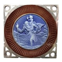 Precious Vintage Saint Christopher silver car plaque - Enamel - French hallmarks - 1940 - Travelers and drivers protection