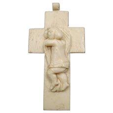 Religious bone cross - Naive sculpture - French Folk Art - Circa 1880