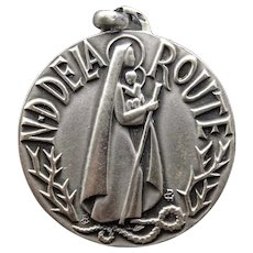 Nice silver religious medal - Notre Dame de la Route  : Our Lady of the road - Protection for travelers