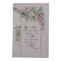 Very nice hand-painted prayer card - Very nice floral pattern - Prayer