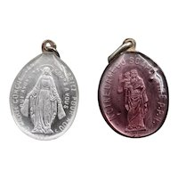 Lot of 2 antique silver and crystal religious medals -One pink & one colorless - Holy Mary and Jesus' heart - 1860-1870