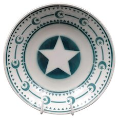Late French Art Deco soup plate - Vintage earthenware Signed Digoin - Rare Green star and moon pattern