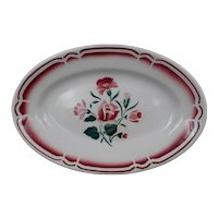 Late French Art Deco small oval biscuits dish - Vintage earthenware - Bunch of flowers pattern