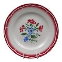 Late French Art Deco plate -Vintage earthenware - Signed Digoin-Sarreguemines - Flowers pattern : Model José