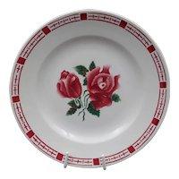 Late French Art Deco plate -Vintage earthenware - Signed Digoin-Sarreguemines - Roses pattern : Model Saverne