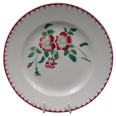 Late French Art Deco plate -Vintage earthenware - Signed Digoin-Sarreguemines - Flowers pattern : Model Epernay