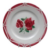 Late French Art Deco plate -Vintage earthenware - Signed Digoin-Sarreguemines - Flowers pattern : Model Cibon