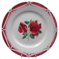 Late French Art Deco plate -Vintage earthenware - Signed Digoin-Sarreguemines - Flowers pattern : Model Cibon