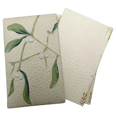 Lovely Art Nouveau set of three notebooks for young lady - Mistletoe pattern - Cover imitating leather