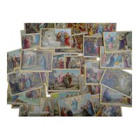 Lot of 30 religious cards : catechism reward cards for children - lithography - circa 1880-1900 - French collectibles